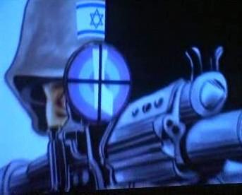 Kresba vyjadřující boj Palestinců s Izraelci
