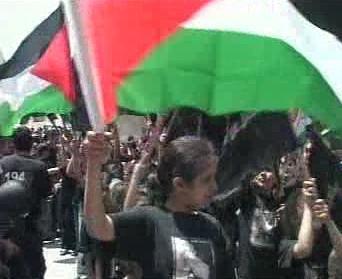 Palestinci v ulicích Ramalláhu