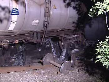 Vykolejená vlaková cisterna