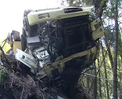 Kamion po nehodě
