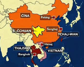 Mapa zemí zasažených zemětřesením