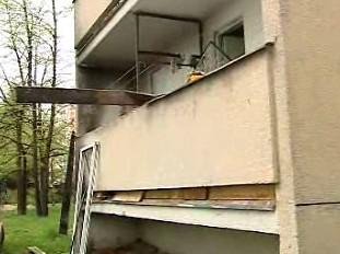 Kladenský balkon po výbuchu