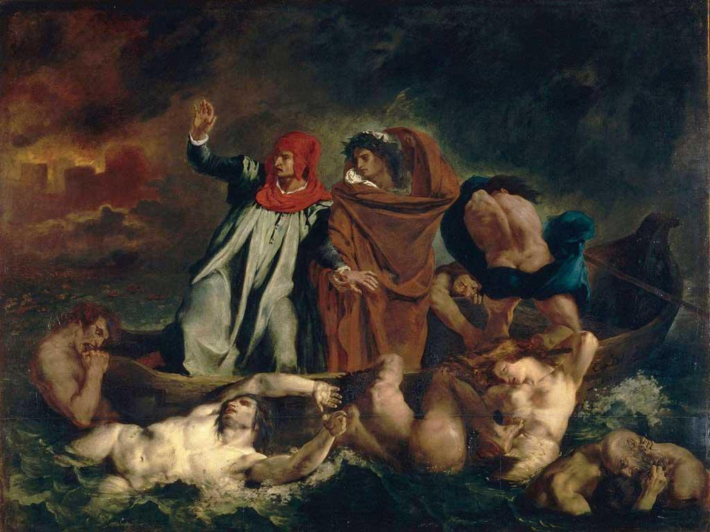 Eugéne Delacroix - Dante a Vergilius v pekle (1822)