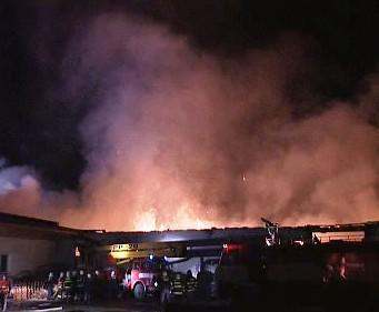 Požár papíren na Havlíčkobrodsku