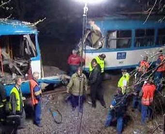 Místo čelní srážky dvou ostravských tramvají