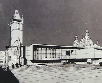 Archivní návrh na dostavbu Staroměstské tadnice