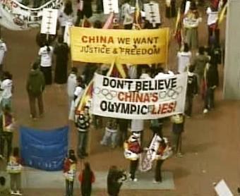 Protičínská demonstrace v USA