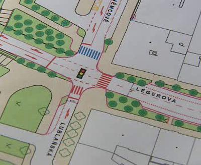 Navrhovaný semafor za Nuselským mostem