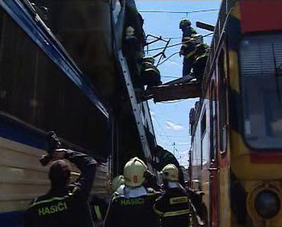 Hasiči u železniční nehody