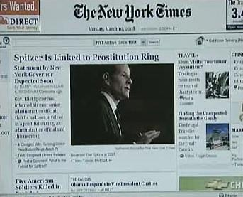 Článek v New York Times o Spitzerově údajném skandálu