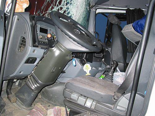Kabina tahače po nehodě