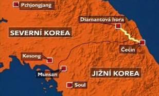 Mapa KLDR a Jižní Koreje