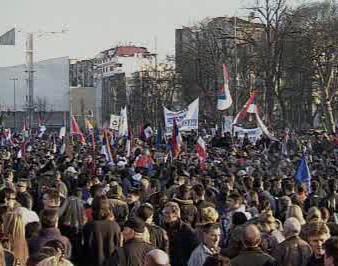 Demonstrace v Bělehradu
