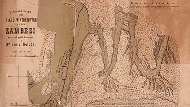 Viktoriiny vodopády - první mapa Emila Holuba