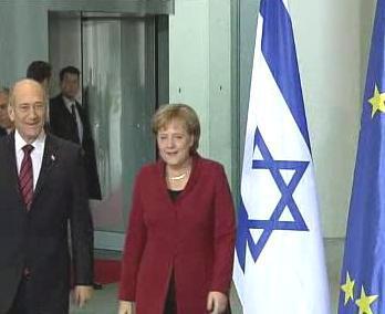 Ehud Olmert a Angela Merkelová