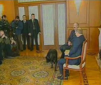 Lukašenko a Putin před novináři