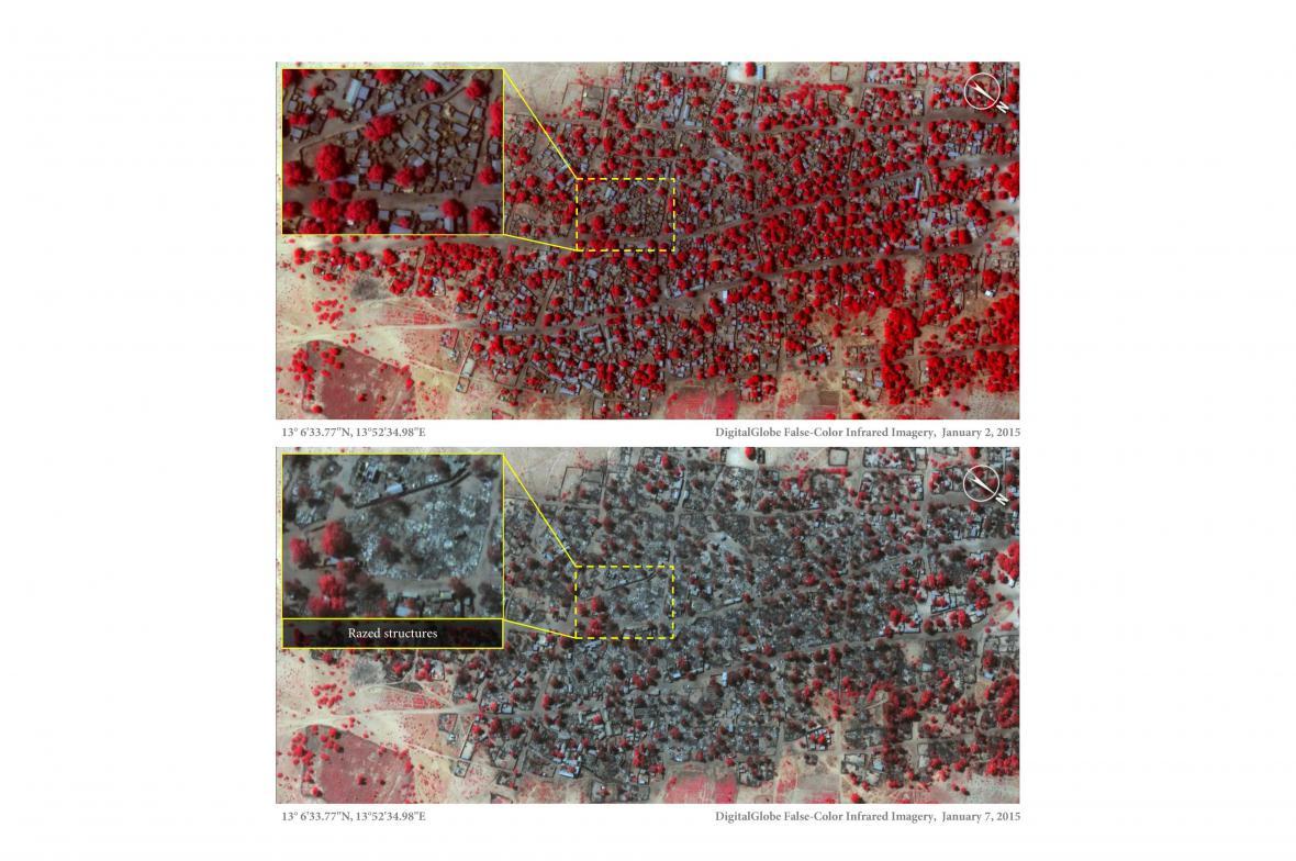 Satelitní snímky: Nigerijská města před útokem Boko Haram a po něm