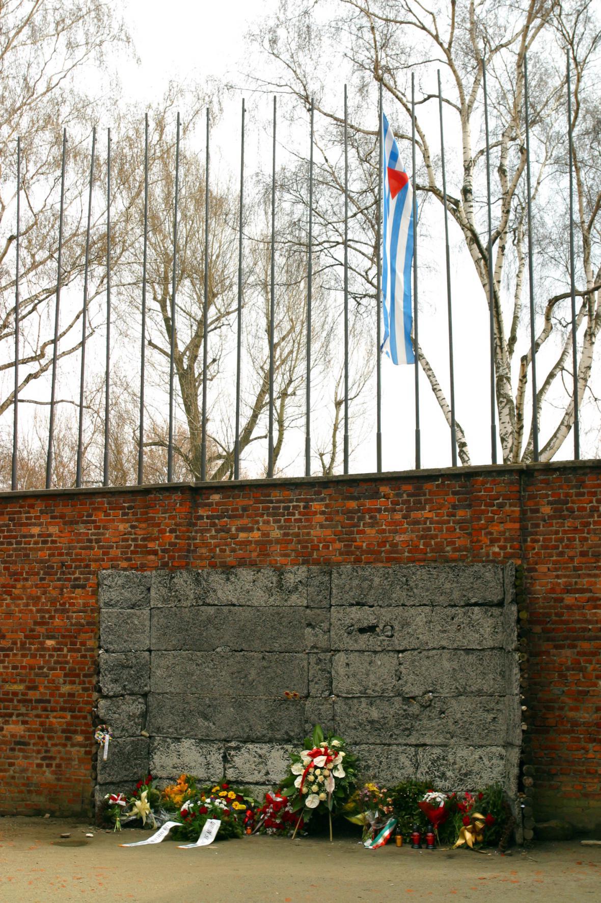 Zeď smrti v koncentračním táboře Auschwitz I.