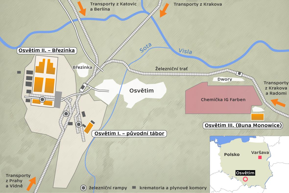 Koncentrační tábor Osvětim – mapa
