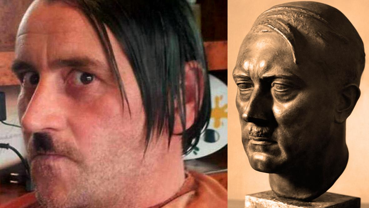 Lutz Bachmann jako Adolf Hitler a busta nacistického vůdce