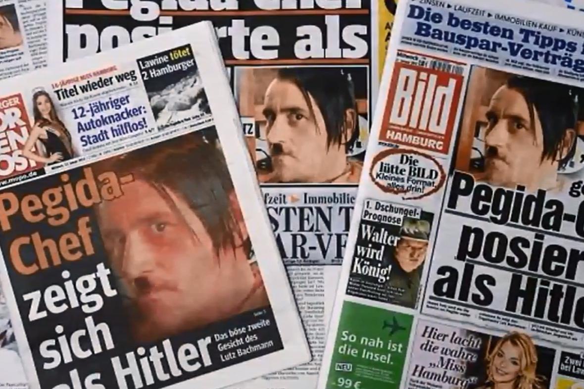 Německý tisk o Lutzi Bachmannovi s vizáží Adolfa Hitlera