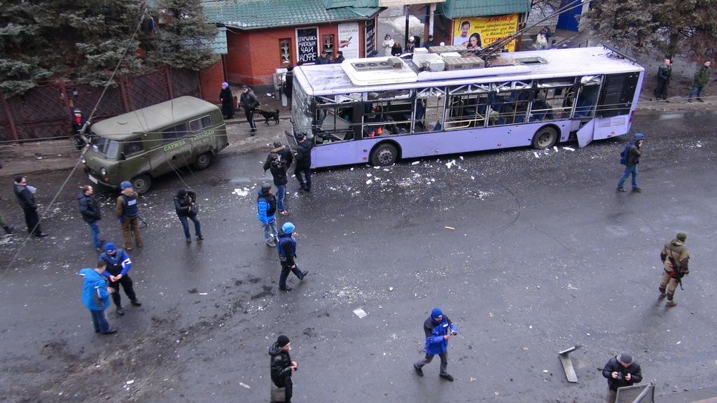 Místo výbuchu v Doněcku