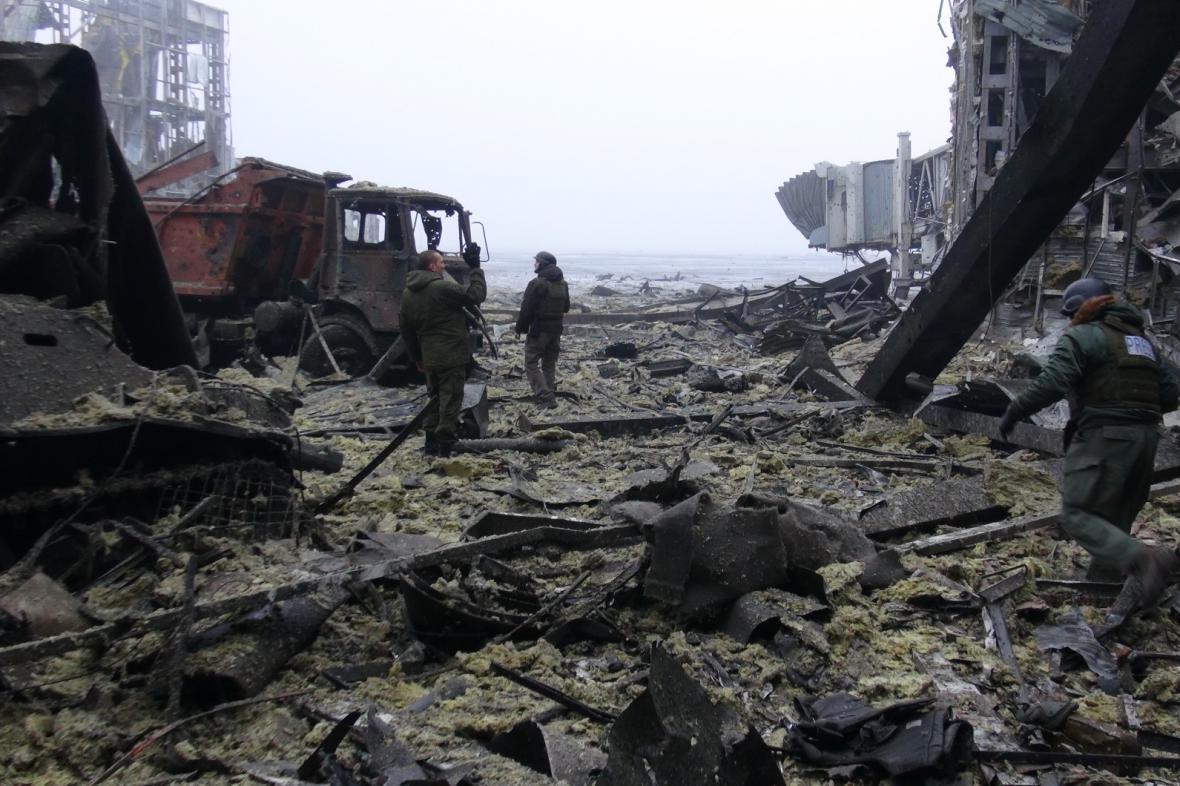 Zničené doněcké letiště