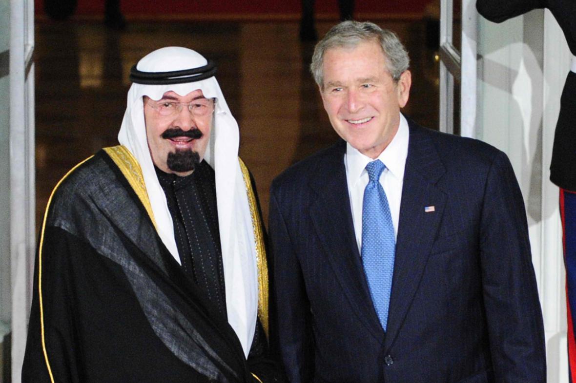 Král Abdalláh a George W. Bush