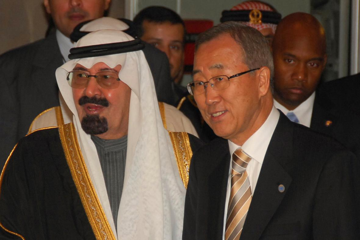 Král Abdalláh a Pan Ki-mun