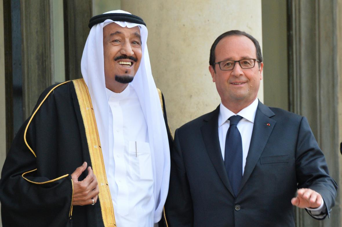 Saúdský korunní princ Salmán a Francois Hollande
