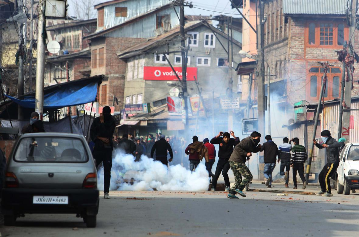 Demonstrace proti Charlie Hebdo v Kašmíru