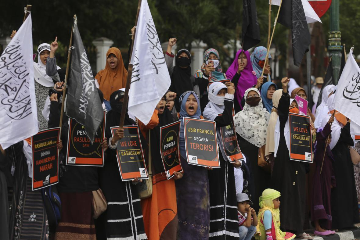 Demonstrace proti Charlie Hebdo v Indonésii