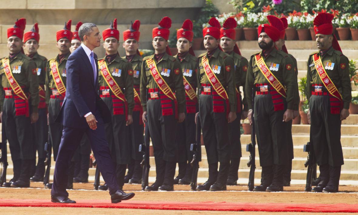 Barack Obama se účastní recepce v prezidentském paláci