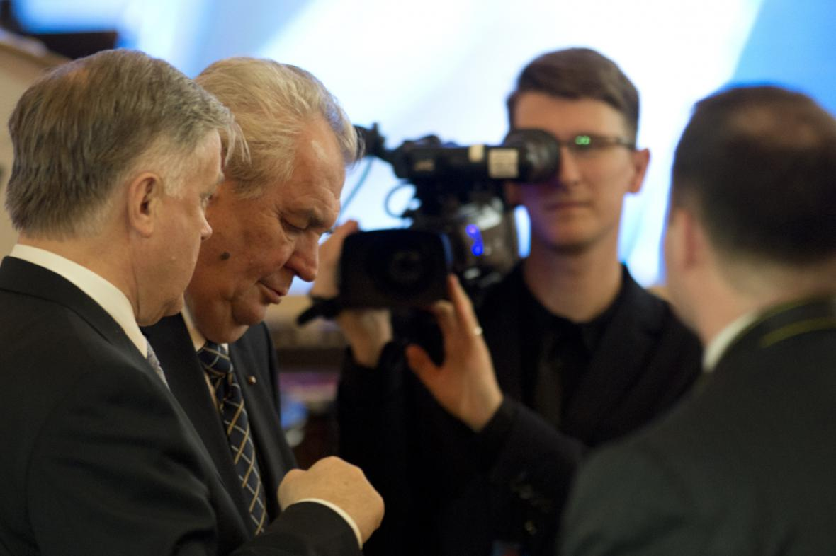 Prezident Miloš Zeman a Vladimir Jakunin v Praze