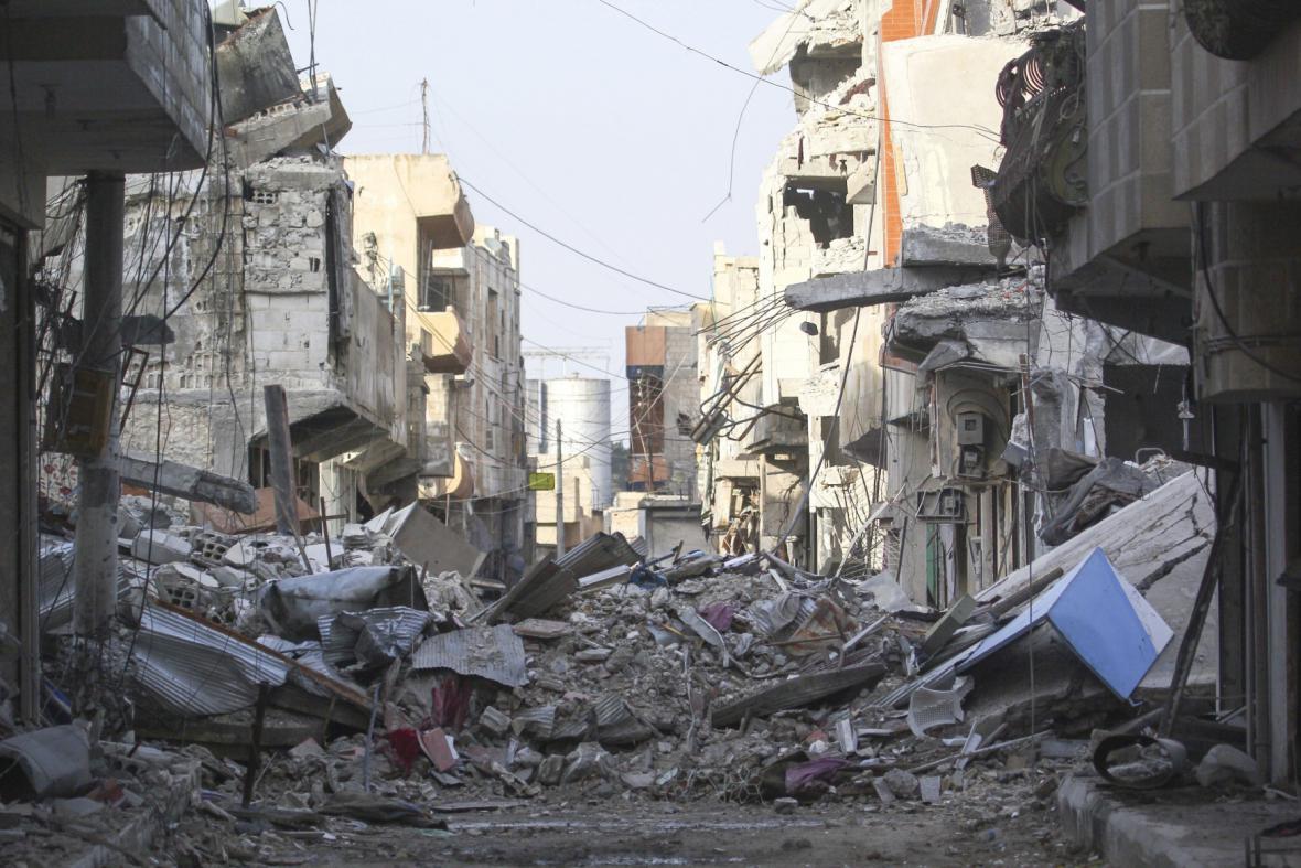 Zničené město Kobani