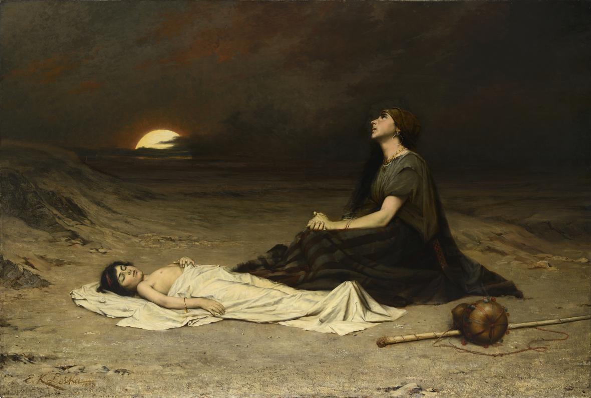 Emanuel Krescenc Liška / Hagar a Izmael na poušti, 1883