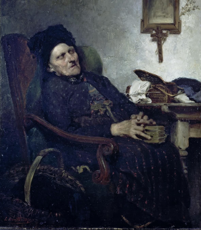 Ludwig von Löfftz / Sedící stará žena, 1871