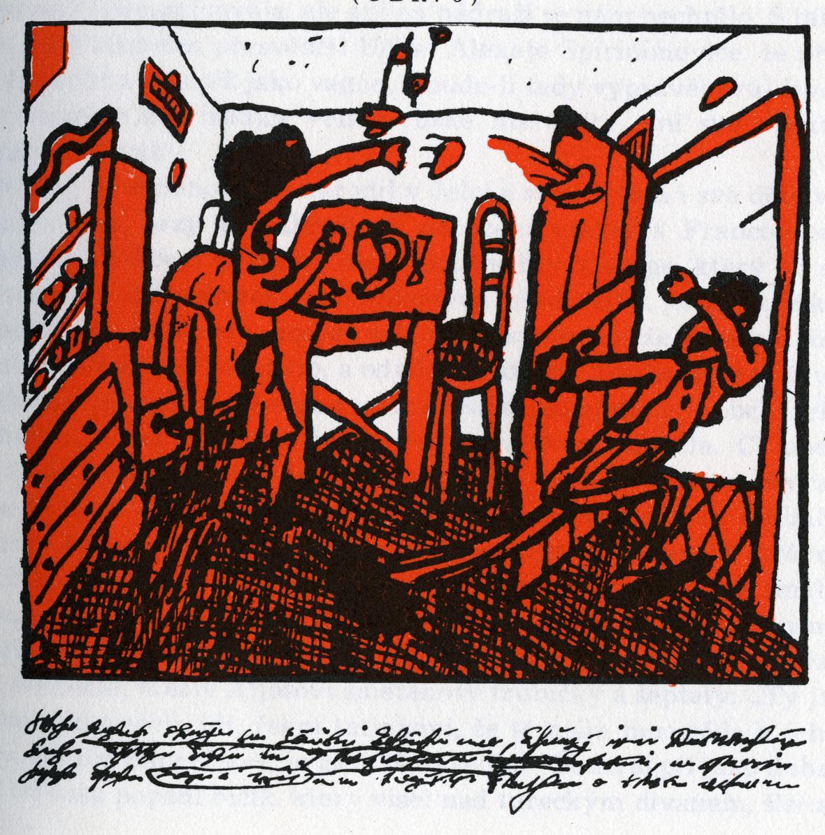 Ilustrace Jiřího Šalamouna ke Neobyčejným dobrodružstvím Julia Jurenita a jeho žáků