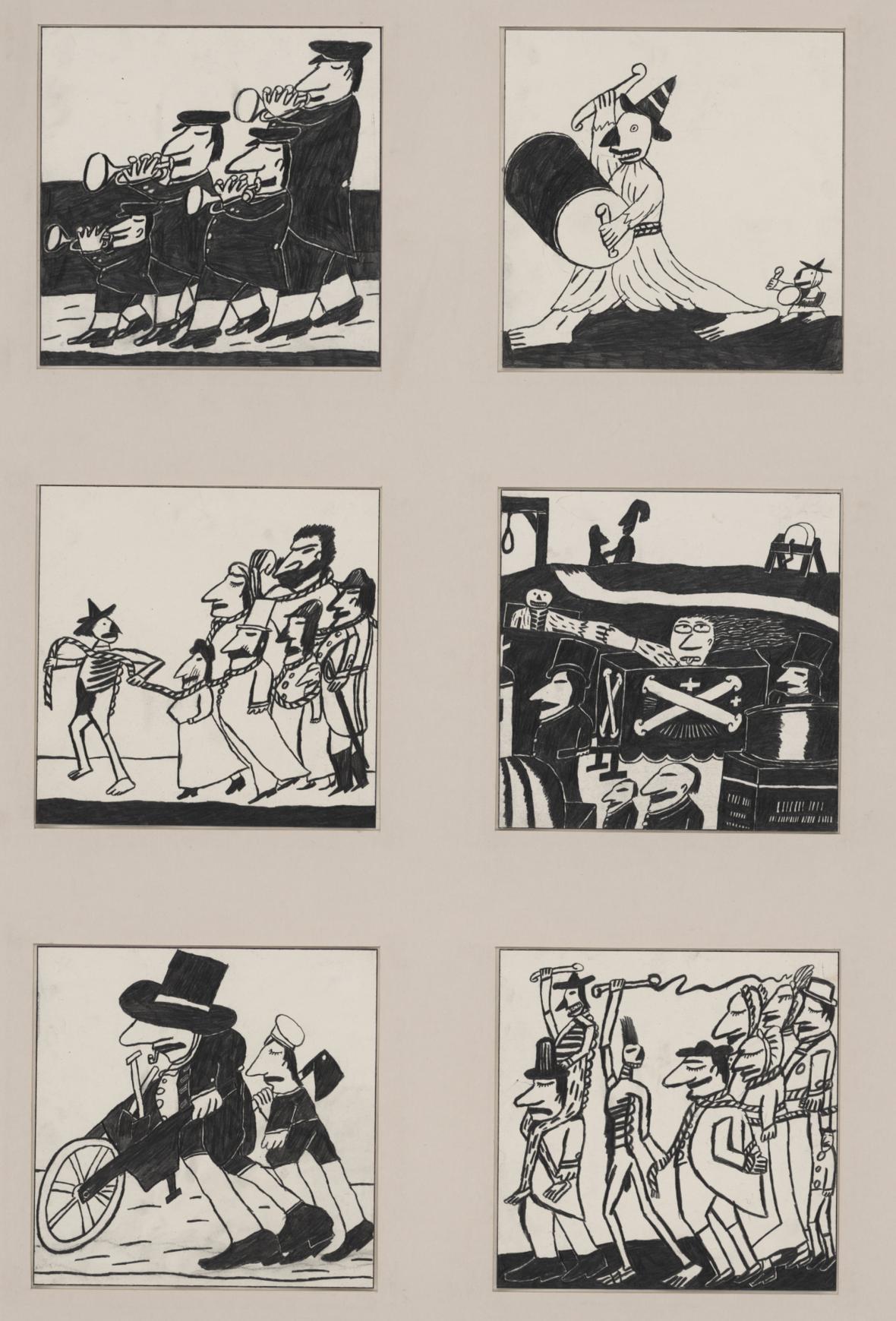 Ilustrace Jiřího Šalamouna k německému vydání Pohřebních písní
