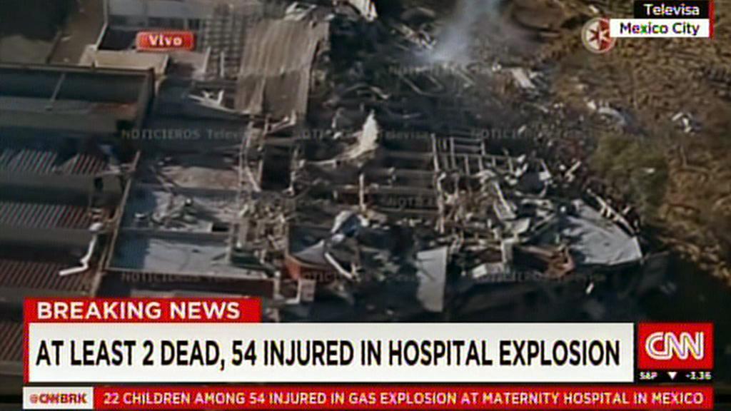 Následky exploze u mexické dětské nemocnice