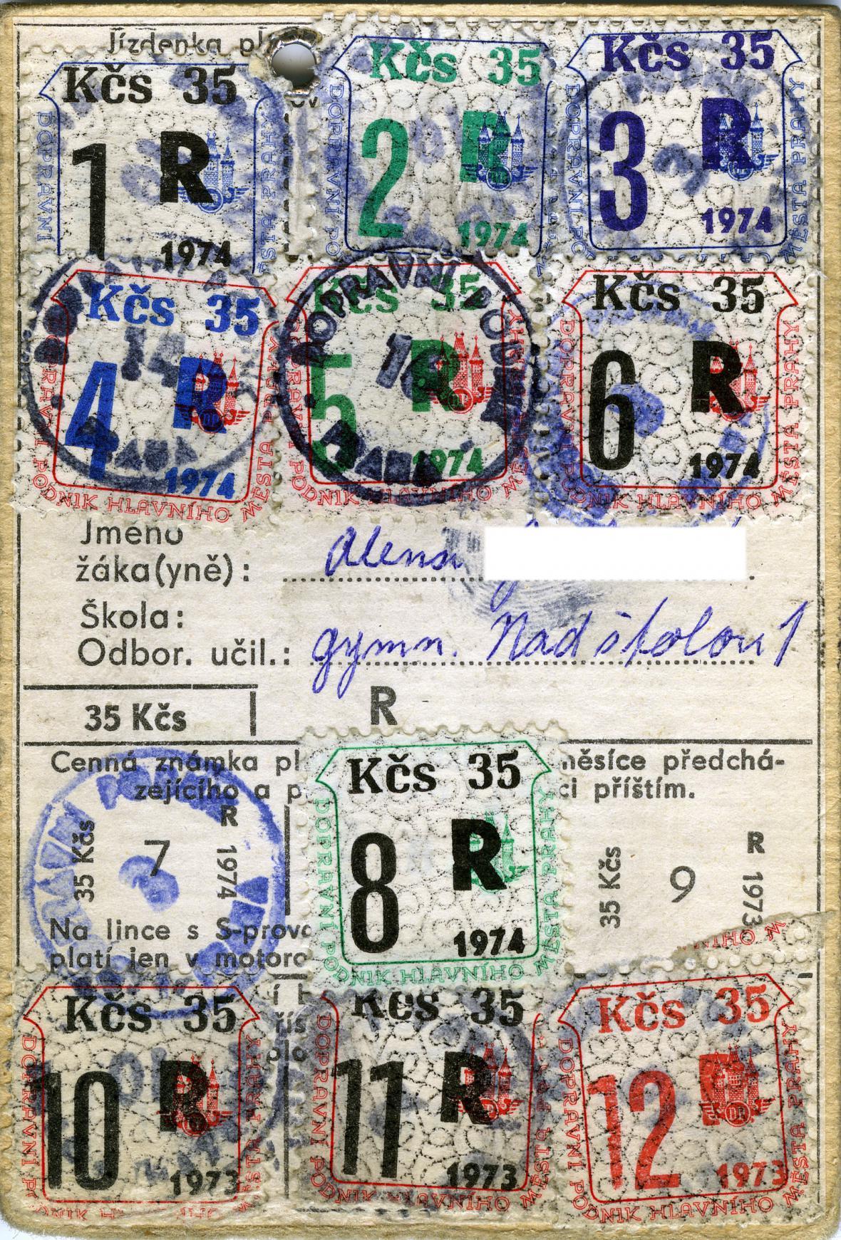 Předplatní jízdenka na pražskou MHD