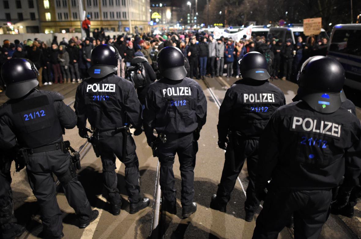 Protest proti Legidě v Lipsku