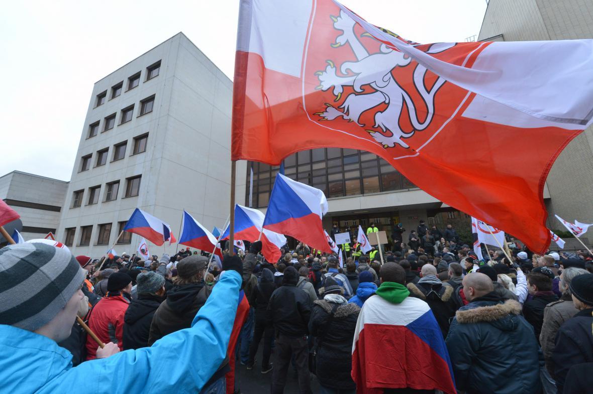 Závěr demonstrace před ministerstvem vnitra