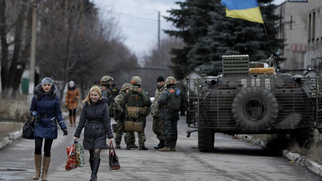 Ukrajinští vojáci v Debalceve