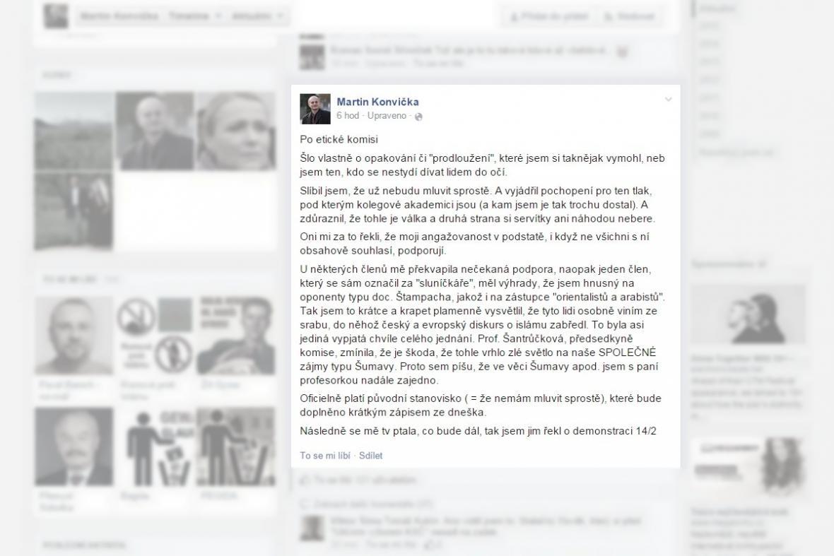 Komentář Martina Konvičky k zasedání etické komise