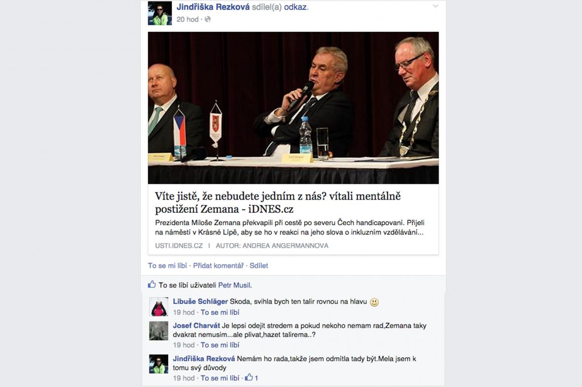 Reakce Jindřišky Rezkové na facebooku