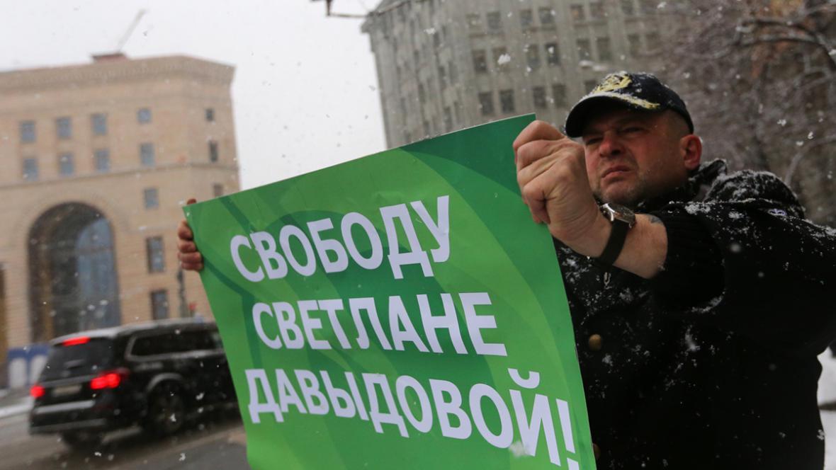 Demonstrace na podporu Světlany Davydovové