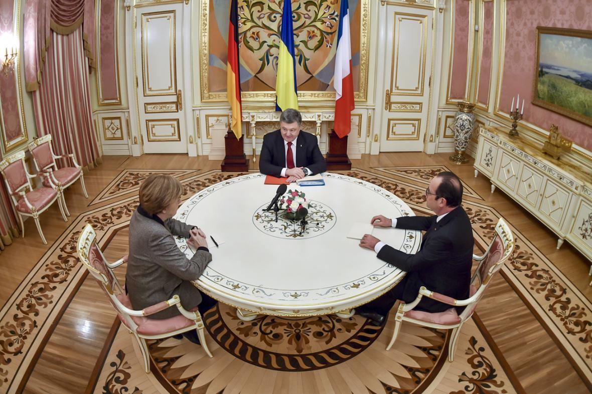 Angela Merkelová, Petro Porošenko a Francois Hollande