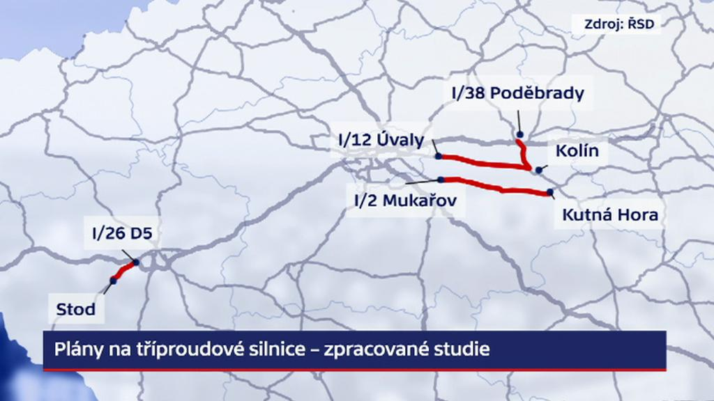 Plán na tříproudové silnice