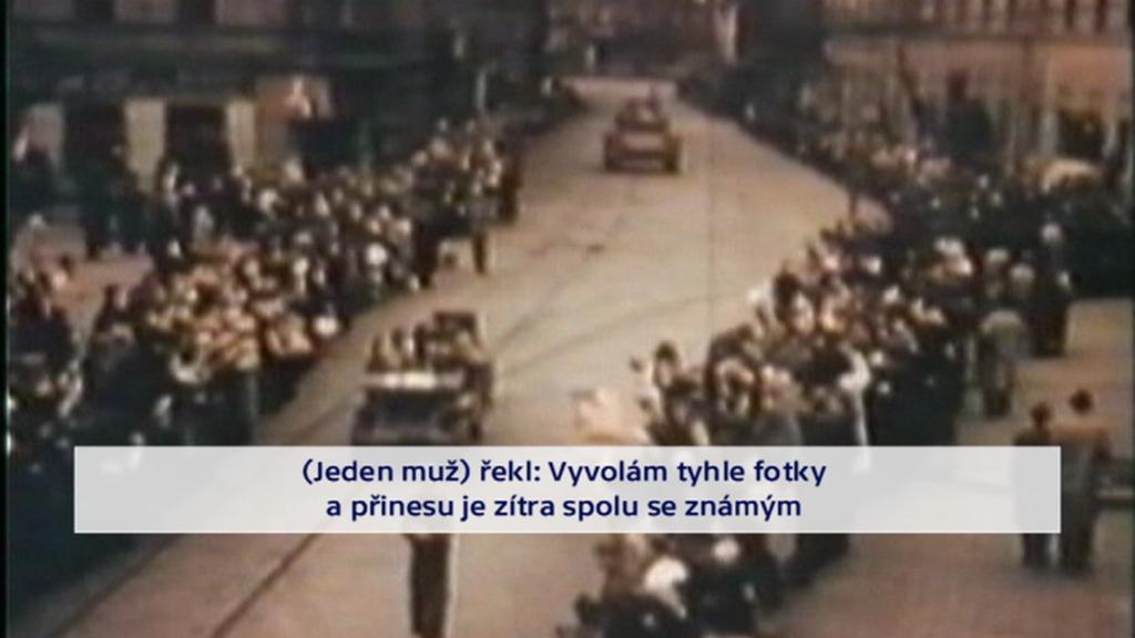 Dobový záběr na vstup amerických vojáků do Plzně (citace Muthersbaugha)